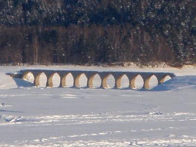 雪原のタウシュベツ橋梁