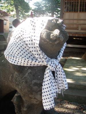 金木八幡宮のほっかむり狛犬