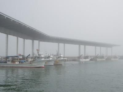 ガスのかかった八雲漁港