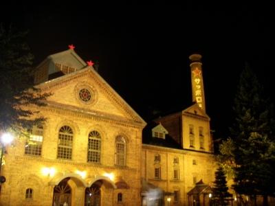 サッポロビール博物館夜のライトアップ