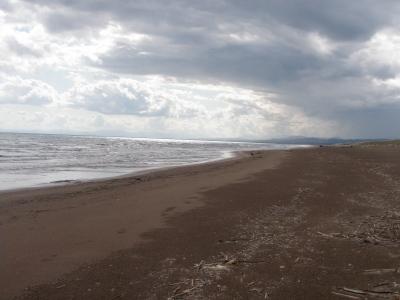 長万部の泣き砂海岸