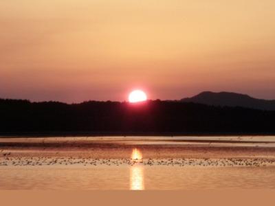 クッチャロ湖の夕陽