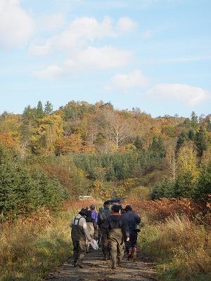 渓流釣り終了後の山道と秋の空