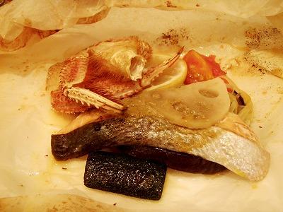 興部毛蟹と生鮭の包み焼き