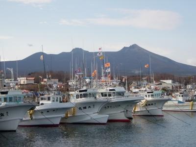鹿部駒ヶ岳と港の漁船たち