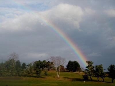 鹿部町にかかる虹