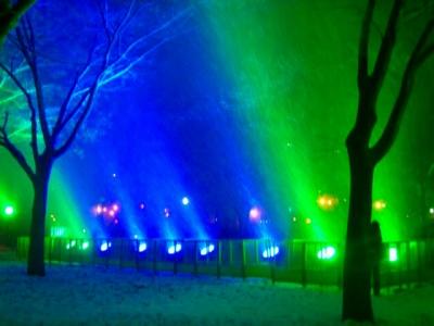夜の大通り冬のライトアップ