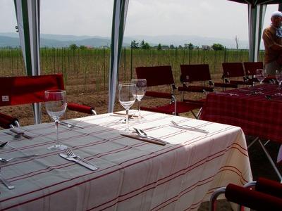 アスパラ畑レストランセッティング
