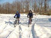 冬の釧路湿原マウンテンバイク