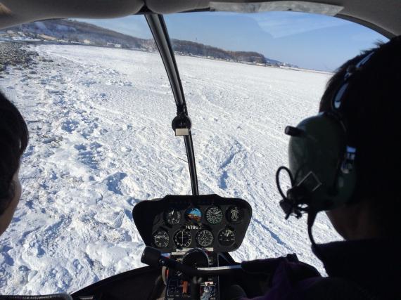流氷,ヘリコプター